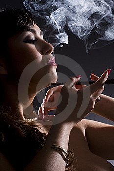 Girl  Smokes Stock Image - Image: 15809871