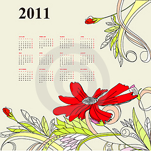 Template For Calendar 2011 Stock Image - Image: 15809891