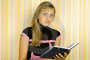 Girl With Textbook Royalty Free Stock Photo - Image: 15812005