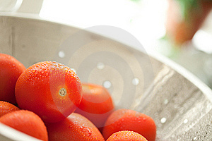 Roma Tomatoes In Colander With Water Drops Royalty Free Stock Photo - Image: 15813965