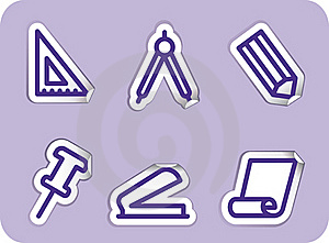 Stationery And Office Icons Stock Photography - Image: 15814632