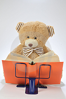 Stuffed Bear Reading A Book Royalty Free Stock Image - Image: 15814896