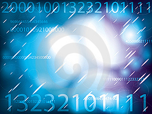 Space Bubbles With IT Numbers Glowing On Blue Stock Photos - Image: 15817373