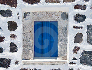 Stone Wall With Blue Window Stock Photography - Image: 15821372