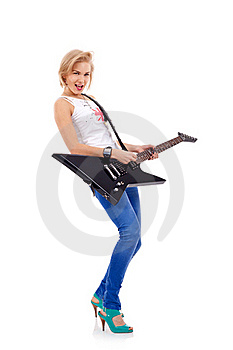 Woman With The Guitar Royalty Free Stock Photo - Image: 15824465