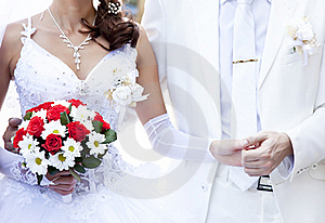 Bridegroom Keeping Bride Hand Royalty Free Stock Image - Image: 15824736
