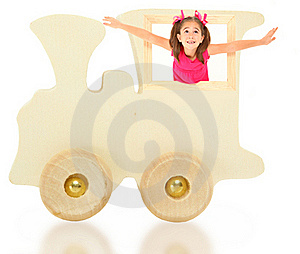 Toy Wooden Train With Girl Royalty Free Stock Images - Image: 15830349