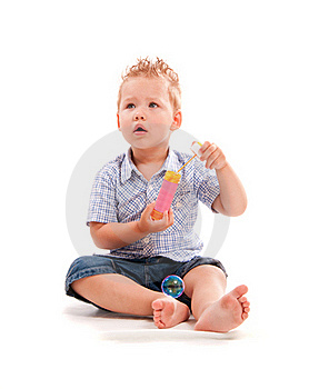 Baby Playing With Soap Bubbles Royalty Free Stock Image - Image: 15837706