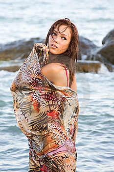 Young Woman In A Wet Pair In The Sea Stock Photos - Image: 15840843
