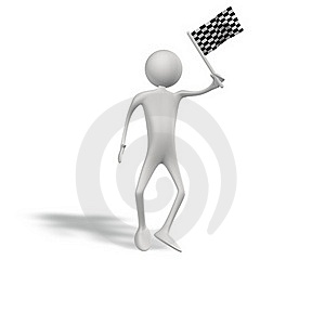 Human Figur With Start Flag Royalty Free Stock Image - Image: 15842386
