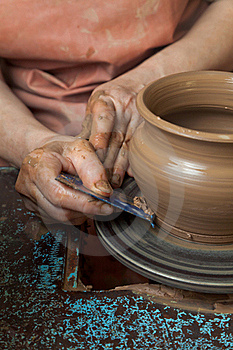 Potter Creates A Pitcher On Royalty Free Stock Image - Image: 15844146