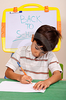 Portrait Of A Young Boy Writing Notes Royalty Free Stock Photography - Image: 15844747