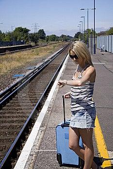 Lady Waiting For Train Stock Photo - Image: 15848130