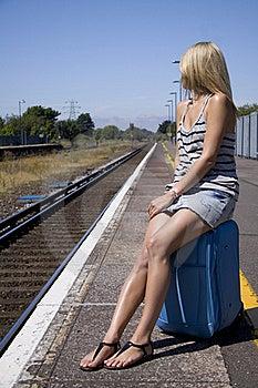 Lady Waiting For Train Royalty Free Stock Image - Image: 15848146