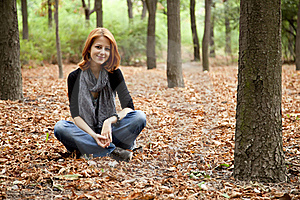 Beautiful Red-haired Girl In Autumn Park Royalty Free Stock Photos - Image: 15849868
