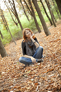 Beautiful Red-haired Girl In Autumn Park Stock Photo - Image: 15849880