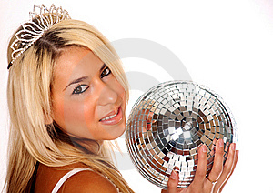 Pretty Blond Woman Holding Disco Ball Stock Photo - Image: 15852080