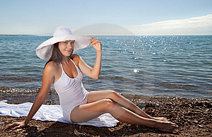 Beautiful Girl In A White Hat Stock Image - Image: 15853161