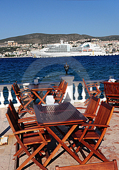 Restaurant Tables On A Terrace In Turkey Royalty Free Stock Image - Image: 15857626