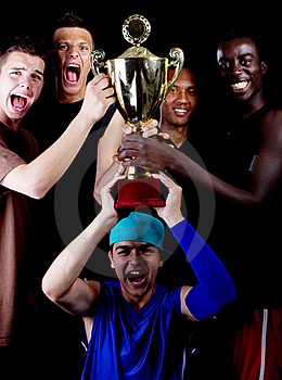 Young Group With Trophee Stock Photo - Image: 15861150