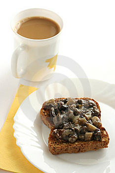 Toast With Mushrooms Paste And A Cup Of Coffee Stock Photos - Image: 15861963