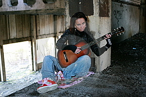 Girl With A Guitar In A Deserted Factory Stock Photo - Image: 15863470