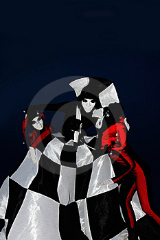 Gloomy Harleyquins And Chess Queen Stock Photography - Image: 15864482
