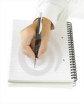 Pen In Hand Writing On The White Page Stock Images - Image: 15864614