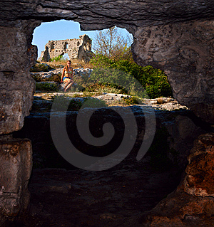 View From The Obsolete Cave House In Mangup Kale Royalty Free Stock Images - Image: 15864709