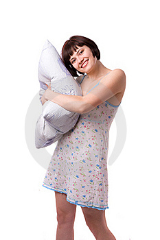 Happy Girl With Pillow Stock Image - Image: 15866151