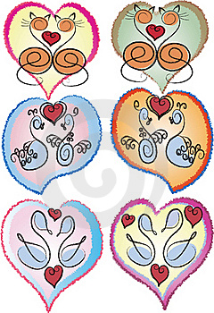 Hearts With Swans And Cats. Stock Image - Image: 15868681