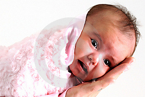 Baby Girl Wrapped In Pink Blanket Held By Father Stock Photography - Image: 15868992