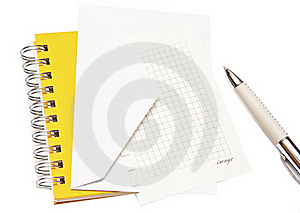 White Envelope Spiral Notepad And Pen Royalty Free Stock Image - Image: 15871136