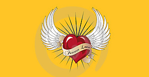 Forever Love Is Flying With A Pair Of Angel Wings. Stock Photography - Image: 15871702
