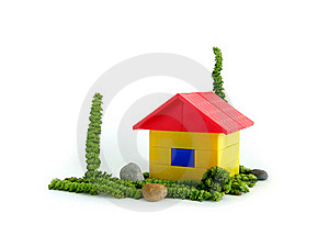 The House On A Green Grass Royalty Free Stock Image - Image: 15873166