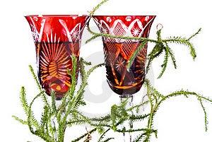 Lycopodium On Wineglasses Royalty Free Stock Photography - Image: 15877617
