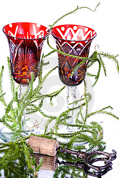 Wineglasses With Lycopodium Royalty Free Stock Photos - Image: 15877618