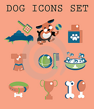 Pet Icons Set Vector Doggy Royalty Free Stock Image - Image: 15877906