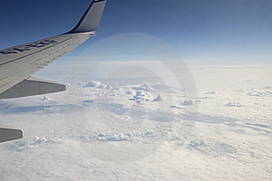 Sky And Jet Plane Wing. Royalty Free Stock Photography - Image: 15878077
