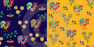 Set Of Patterns With Rooster Stock Images - Image: 15883254