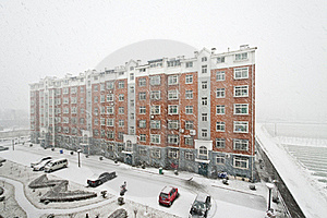 Community Building In Snowing Stock Photos - Image: 15883583