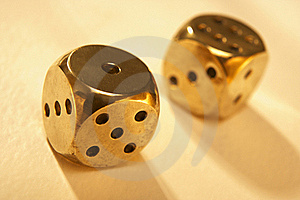 Two Brass Dice Royalty Free Stock Photography - Image: 15883707