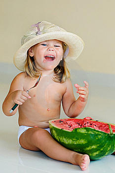 Funny Cute Child Eating Watermelon Stock Images - Image: 15885294