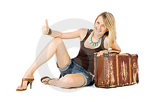 Woman Suitcase Hitchhiking Stock Photos - Image: 15885893