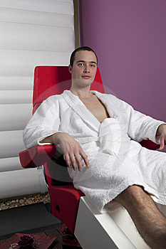 Handsome Young Man Lying, Relaxing In Chair Royalty Free Stock Images - Image: 15886119