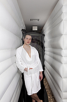 Handsome Young Man In Spa Corridor Stock Photography - Image: 15886502