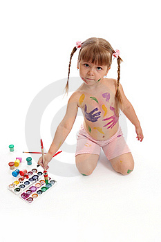 Little Girl With Paints And A Brush Stock Images - Image: 15891654