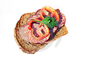 Sandwich With Sausage, Pepper And Greens Royalty Free Stock Images - Image: 15896769