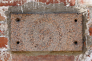 Old Brick Wall With A Blank Marble Slab Stock Image - Image: 15899141