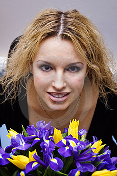 Pretty Blond With Flowers Royalty Free Stock Photo - Image: 1593405